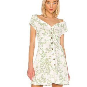 Free People A Thing Called Love Linen Button Mini Dress in Ivory Combo Size 4